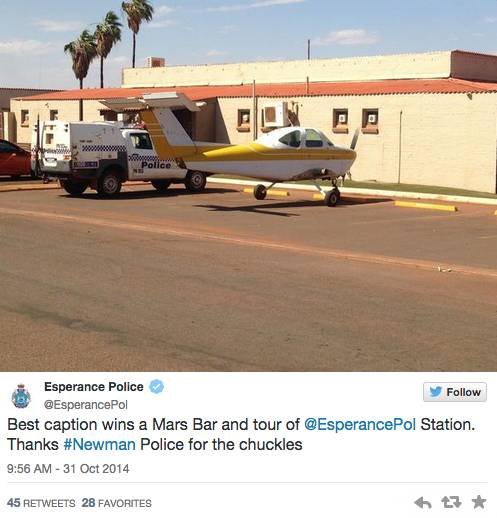 The Esperance Police, also from Western Australia, saw the inherent entertainment value in this. We hope they made good on their offer.
