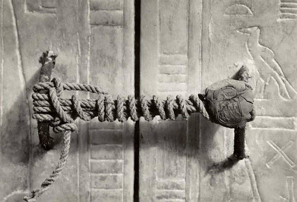 The unbroken seal On Tutankhamens Tomb, 1922 (3,245 years untouched).