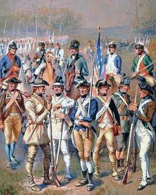 Since there was no established Continental Army at the beginning of the war, there were no uniforms for the Americans to wear, so many of them just wore civilian clothing or hunting garb.