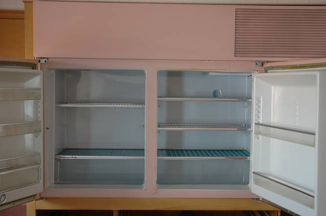 The refrigerator and freezer, which was horizontal and raised off the floor.