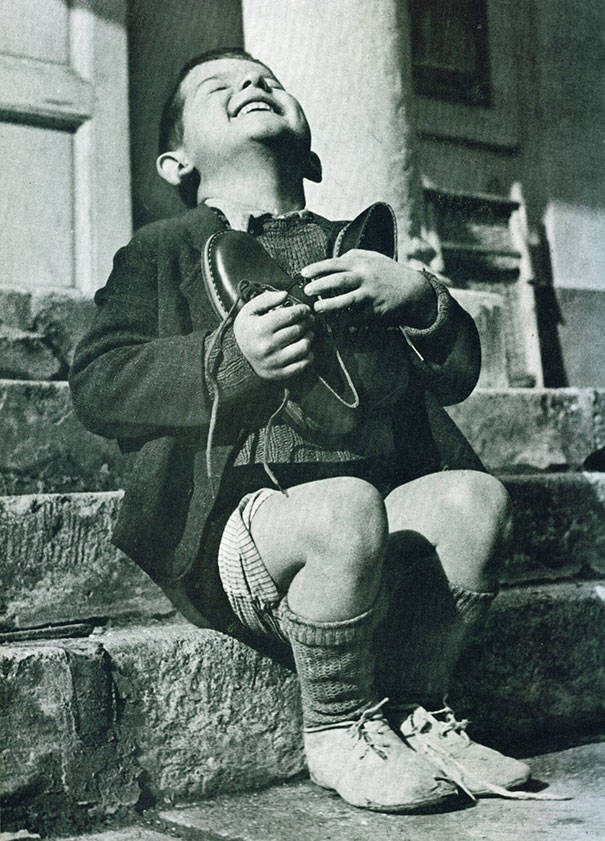 This Austrian boy got a new pair of shoes in World War II.