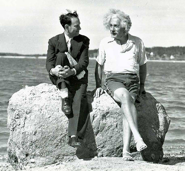 Einstein at Nassau Point, Long Island, New York in the summer of 1939.