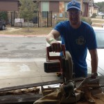 They began by cutting and shaping the wood with a table saw.