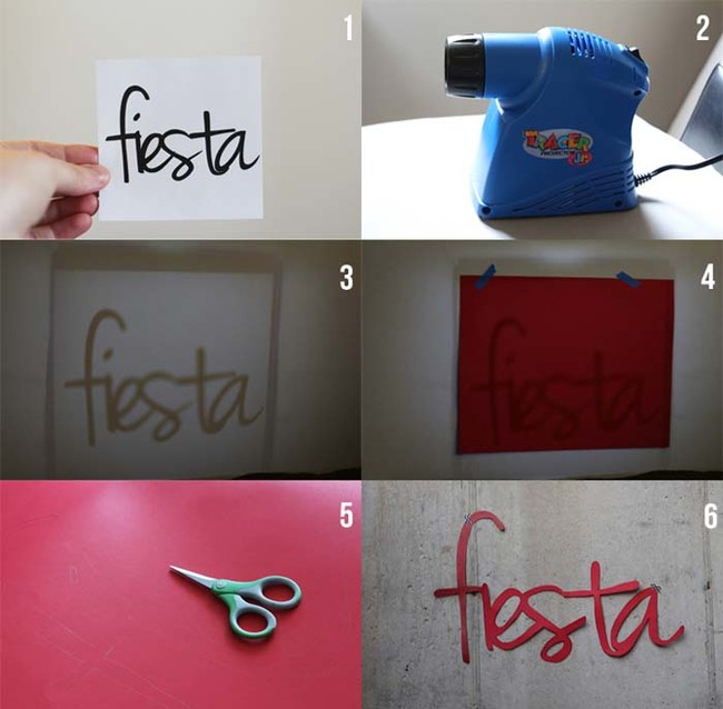 Use a projector and a poster board to make a decorative banner sign.