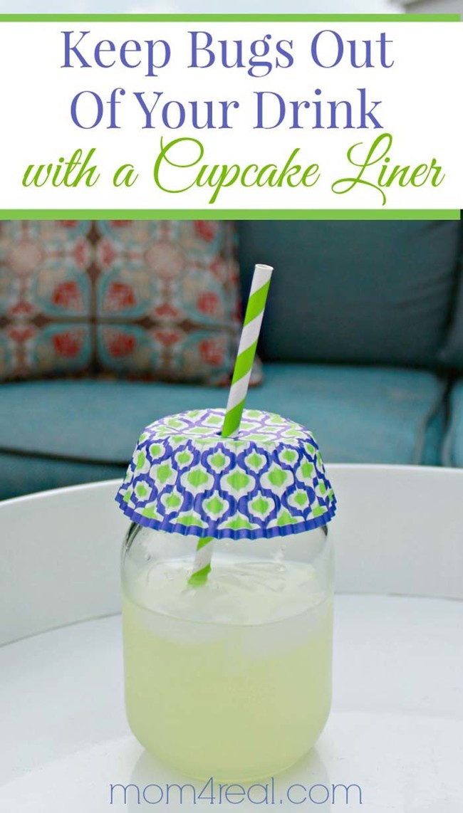 A cupcake liner attached to a straw keeps bugs out of sugary drinks.