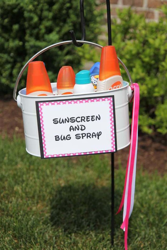 A sunscreen and bug spray station will keep everyone protected from summer