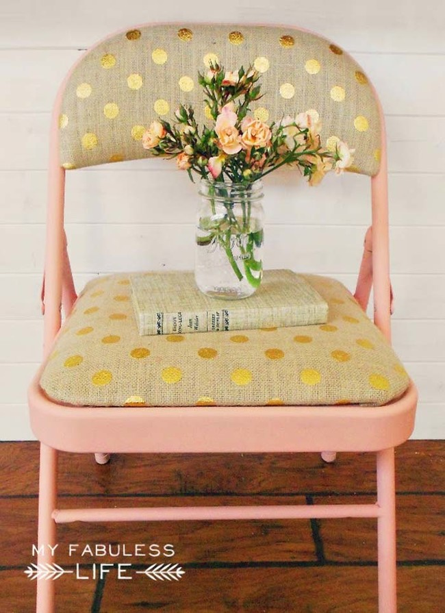 Give folding chairs a makeover to spice up your party decor.
