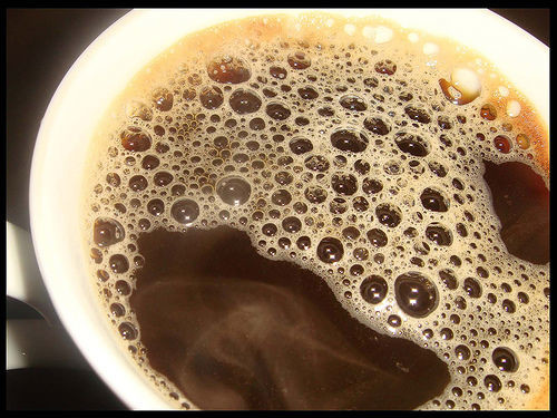 Predict the weather with a cup of coffee. High atmospheric pressure affects the bubbles in your coffee, so if there are bubbles in the center of the cup, expect rain or stormy weather.