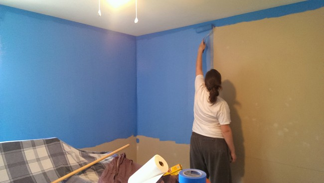 First they painted the walls light blue.
