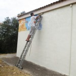 Before starting this project, Sath had to find the perfect canvas. After he found one to his liking, he got to work on creating a colorful mural.