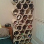 Keep prized floor space for winter boots -- PVC pipes are excellent for smaller shoe storage.