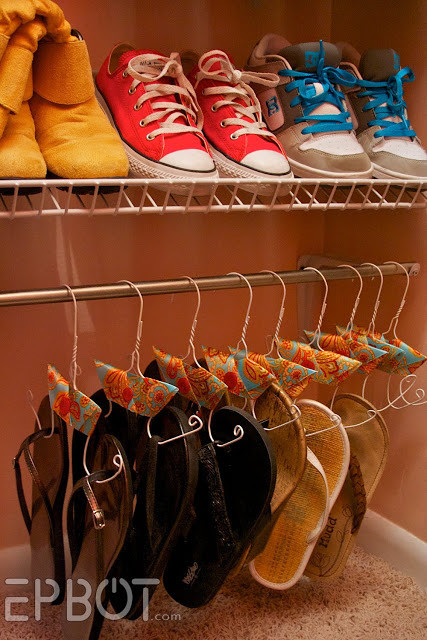 Get those flip flops out of the way during the cold months with bent hangers.