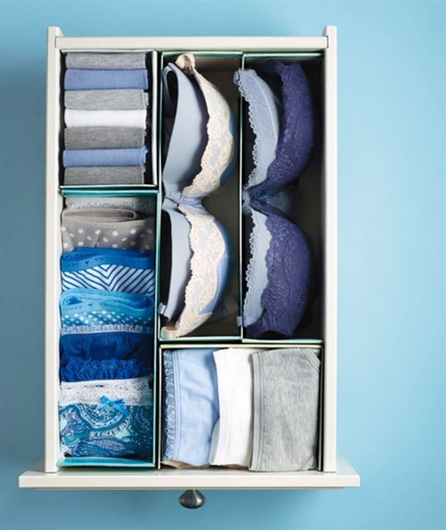 Old shoe boxes help organize your drawers.