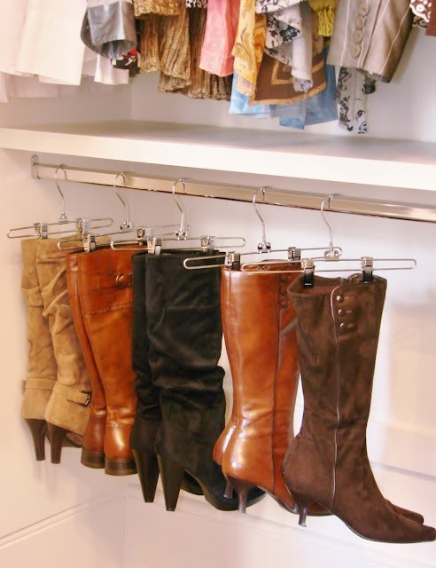 Use hangers to keep your boots in shape.