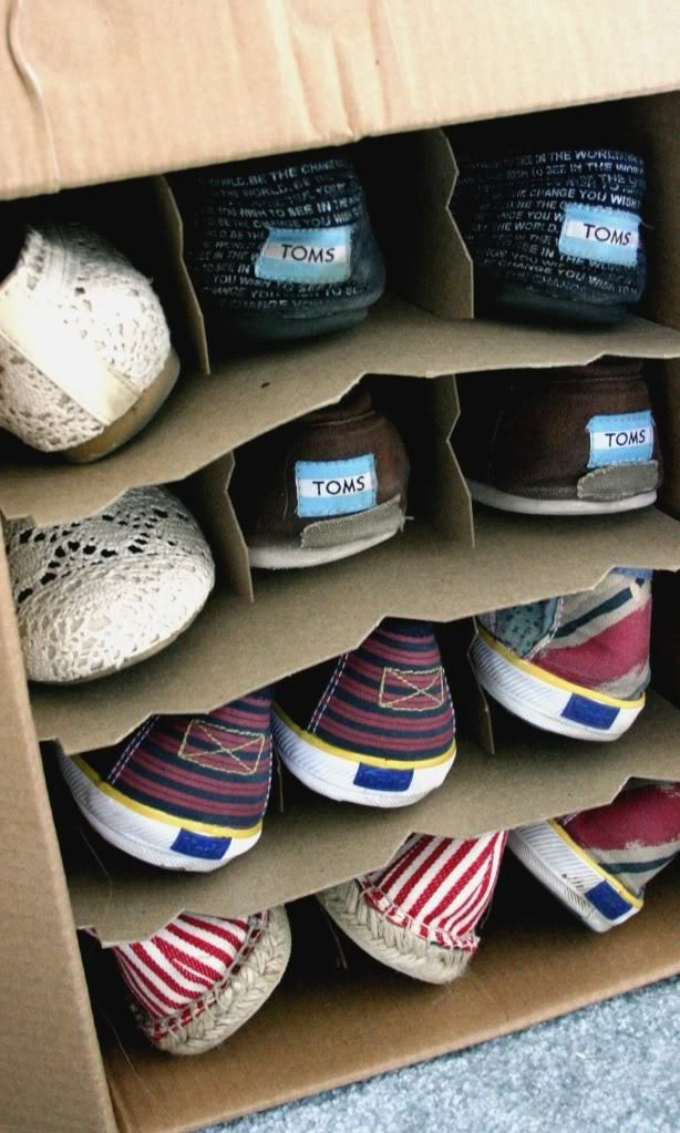 Old wine boxes are great shoe storage receptacles.