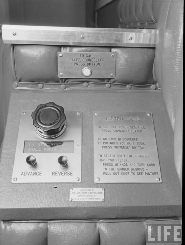 Using these controls, customers were able to flip through a slew of items at the touch of a button, including clothing, toys, and housewares. Sounds familiar, right?
