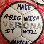 Just when they thought they were safe, this soccer ball with disturbing phrases written on it was tossed onto their lawn.