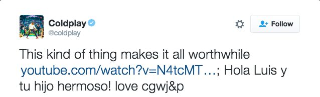 Lead singer Chris Martin himself even reached out and expressed his gratitude to the boy on Twitter!
