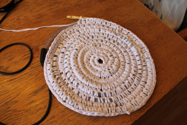 Crochet in the same pattern until your rug is the desired size (or until you run out of lights).