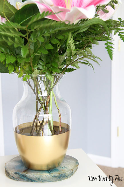 Give a glass vase an <a href=