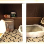 Then they put the litter box, food, and shovel inside.