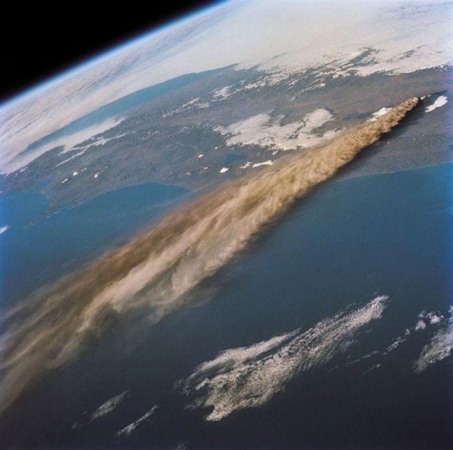 A volcanic eruption as seen from space.