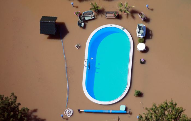 A swimming pool in a flood.