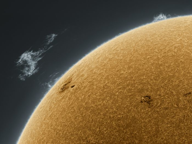 The sun shot at a specific light wavelength.