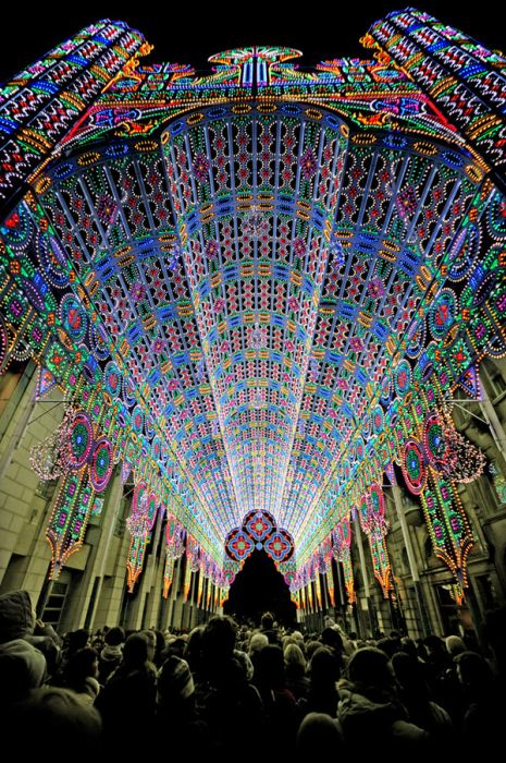 A cathedral decorated in 50,000 LED lights.