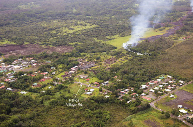 As of Monday (10/27), the flow was heading toward the Pahoa Village Rd. near the town