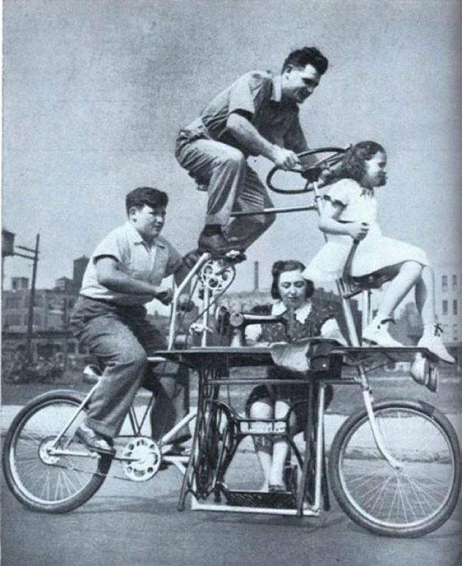 Family Bicycle With Sewing Machine