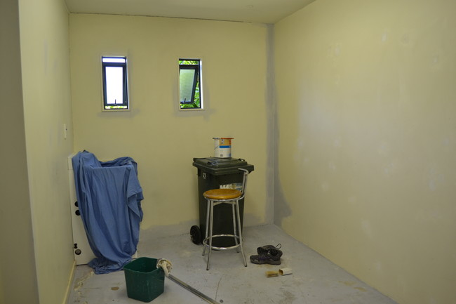 The original walls were in terrible condition, so she had to strip the old, cracking paint.