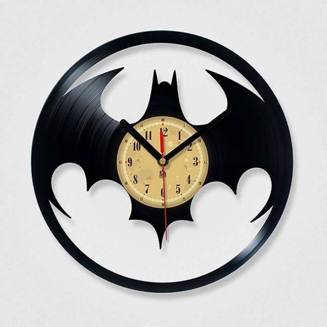 This awesome <i>Batman</i> clock is made out of a vinyl record. Give it a go yourself, or purchase one on <a href=