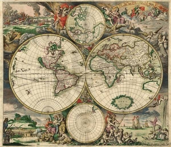 A map of the world from all the way back in 1689.