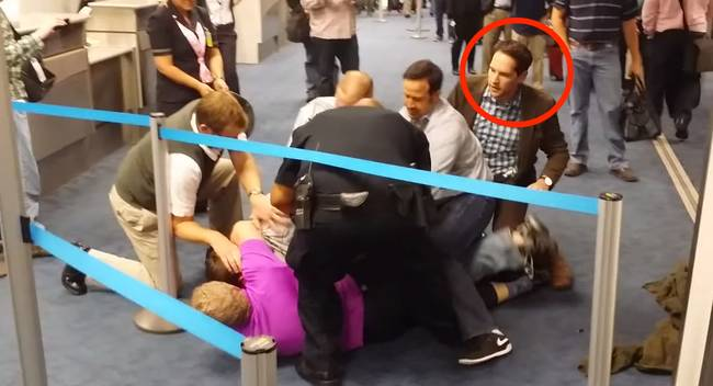 Immediately after kicking and punching him, the crowd of on-lookers, including PAUL RUDD, jumped into action. Or did he...