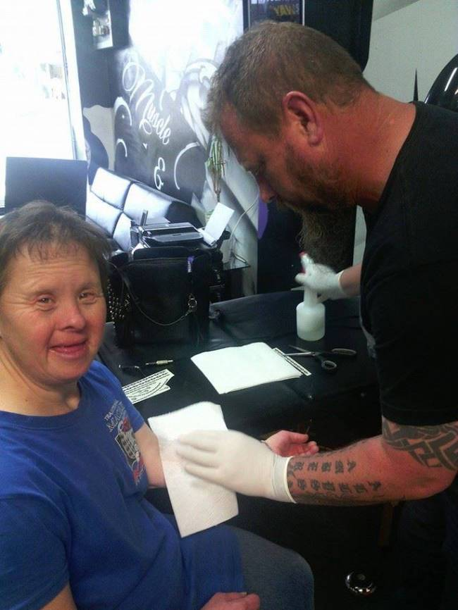 Now, she comes in every single Friday to get the same treatment from Ward, free of charge. Barry has Down Syndrome. Before she goes to her vocational day facility, Ward says she likes to get tatted up so she can show off her new art. She prefers Maori design, because she has a friend at the facility with that style of tattoo up his arm and she likes to compare her weekly work with his.