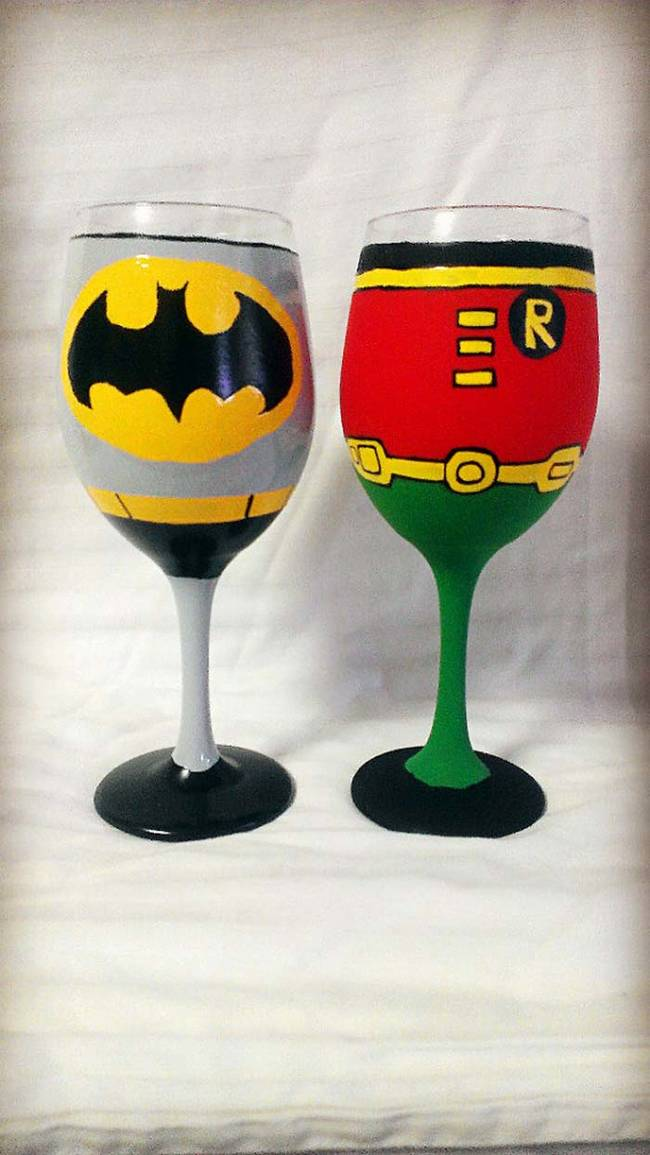 These Batman and Robin wine glasses make a perfect team.