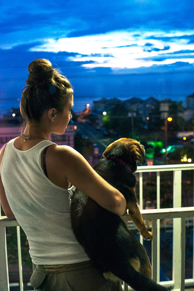 They all watched the sunset from their hotel balcony...